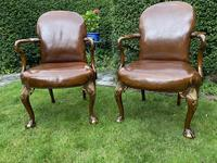Pair of Leather Queen Anne Style Armchairs (10 of 10)
