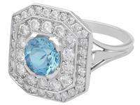 2.11ct Aquamarine & 2.22ct Diamond, 18ct White Gold Dress Ring - Vintage c.1950 (3 of 9)