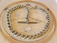 Antique Silver Pocket Watch Chain 1890s Victorian Graduated Curb Link Albert & T Bar (3 of 11)