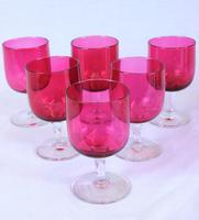 Antique Cranberry Glass Set Six Wine Glasses