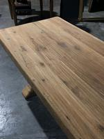 Large French Bleached Oak Trestle Farmhouse Dining Table (10 of 16)