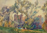 Outstanding 20thc Signed Autumn Landscape Castle Ruin Watercolour Painting (11 of 11)