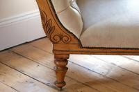 Edwardian Mahogany Framed Chaise Longue with Button Back Upholstery (7 of 12)