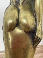 Art Deco French Signed Gilt Bronze 2 Female Nude Mermaids Swimming Statue c.1930 (34 of 41)