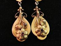 Antique Georgian Gold Drop Earrings, Ruby, Floral, 18ct (3 of 11)