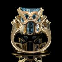 Vintage Aquamarine Diamond Ring 14ct Gold 12ct Emerald Cut Aqua (3 of 8)