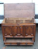 1850's Oak Coffer with Drawer at Base + Original Hinges (2 of 4)