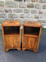 Pair of Antique Figured Walnut Bedside Cabinets