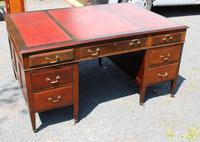 1920s Mahogany Partners Desk with Red Leather on Top (2 of 6)