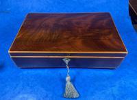 Georgian Mahogany Jewellery Box Edged In Boxwood