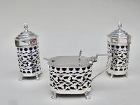 Stunning Edwardian Silver Three Piece Condiment Set by Charles Horner, Birmingham 1903 (4 of 8)