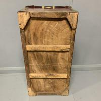 Unusual red leather and brass bound camphor trunk chest (8 of 10)