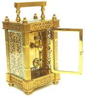 Fantastic French 8-day Fleur De Lis Decorated Panel 8-day Carriage Clock Timepiece c1890 (10 of 10)