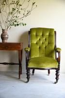 Antique Mahogany & Green Upholstered Armchair (3 of 11)
