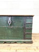 Large Distressed Painted Metal Bound Trunk (4 of 10)