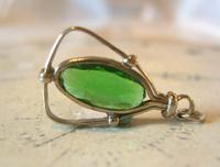 Antique Pocket Watch Chain Fob 1900 Art Nouveau Silver Chrome & Vivid Green Glass Fob (3 of 8)