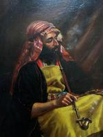 Beautiful Original 19thc Portrait Oil Painting of Smoking Arabian Gentleman (9 of 13)