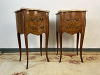 French Marquetry Bedside Tables Cabinets With Marble Tops Louis XVI Bombe Style (2 of 10)