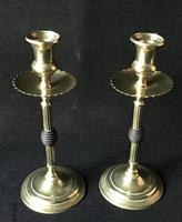 Pair of Arts and Crafts Brass and Ebony Candlesticks (3 of 4)