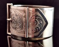 Victorian Silver Cuff Bangle, Wide, Buckle (8 of 11)