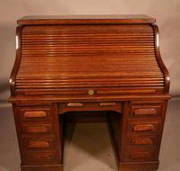 Good Oak Roll Top Desk by Maples London (4 of 12)