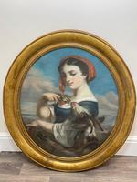 """19th Century Oval Pastel Painting French Neapolitan"""" Nubile Young Woman Feeding Goat Flowers"""" Attributed Fantin Latour Theodore (36 of 51)"""