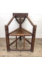 Antique Carved Oak Corner Chair (2 of 10)