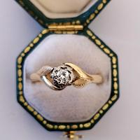 Mid 20th Century 18ct Gold Diamond Engagement Solitaire Ring Size O (6 of 11)