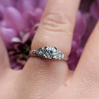 Art Deco Platinum Diamond Solitaire Ring, Antique Diamond Engagement Ring (2 of 8)