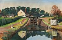 'Lapworth Canal, Warwickshire' Exceptional Vintage Oil on Canvas Painting c1960 (2 of 13)