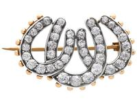 1.51ct Diamond & 8ct Yellow Gold Triple Horseshoe Brooch - Antique Victorian