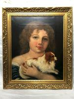 Victorian 19th Century Oil Painting Portrait Young Girl & Cavalier King Charles Spaniel (6 of 34)