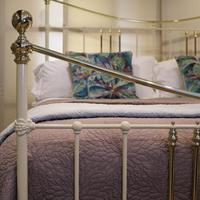 Wide Cast Iron & Brass Antique Bed in Cream (3 of 7)
