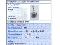 0.80ct Sapphire & 0.82ct Diamond, 14ct Yellow Gold Pendant - Antique (7 of 9)