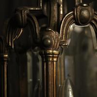 French Bronze Triple Light Antique Hall Lantern (5 of 10)