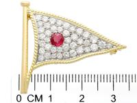 1.65ct Diamond & 0.48ct Ruby, 18ct Yellow Gold Flag Brooch - Vintage c.1945 (7 of 9)