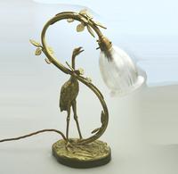 A Good Edwardian Gilt Brass Novelty Heron / Stork Table Lamp C.early 20thc (2 of 7)
