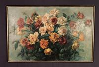 Signed Early 20th Century Large French Oil on Canvas Bouquet of Roses (5 of 8)