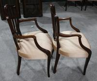 1960s Pair of Mahogany Shieldback Carver Chairs Pale Pink (3 of 3)