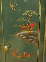 Vintage 1950s Chinese Painted Corner Cabinet, Racing Green (9 of 16)