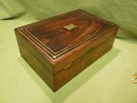 Inlaid Unisex Rosewood Jewellery Box + Tray. c1835 (5 of 12)
