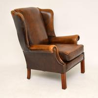 Antique Georgian Style Leather Wing Back Armchair (5 of 11)