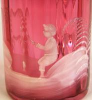 Antique 1900 Mary Gregory Cranberry Glass Mug (2 of 6)