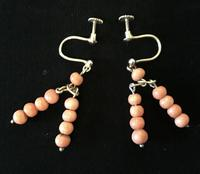 Pair of  9ct  Gold and Coral Earrings (2 of 3)