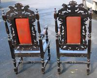 1900's Pair of Continenental Oak Carved Armchairs with Leather Seats