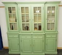 20th Century Breakfront Bookcase Painted Green (2 of 4)