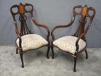 Art Nouveau Style Inlaid Mahogany Elbow Chairs (2 of 11)