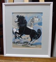 Watercolour & Ink Study of Stallions Artist Vigil (7 of 10)