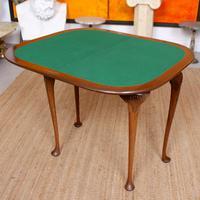 Writing Card Table Burl Walnut Circular Folding Desk (12 of 12)