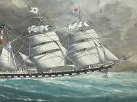 """Edwardian Watercolour """"Champion Of The Seas"""" Ship Black Ball Line Off Cape of Good Hope Signed Pierhead Artist Williams (33 of 39)"""